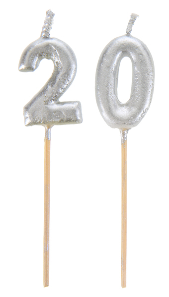 20. Geburtstag Party Kuchenkerzen silber