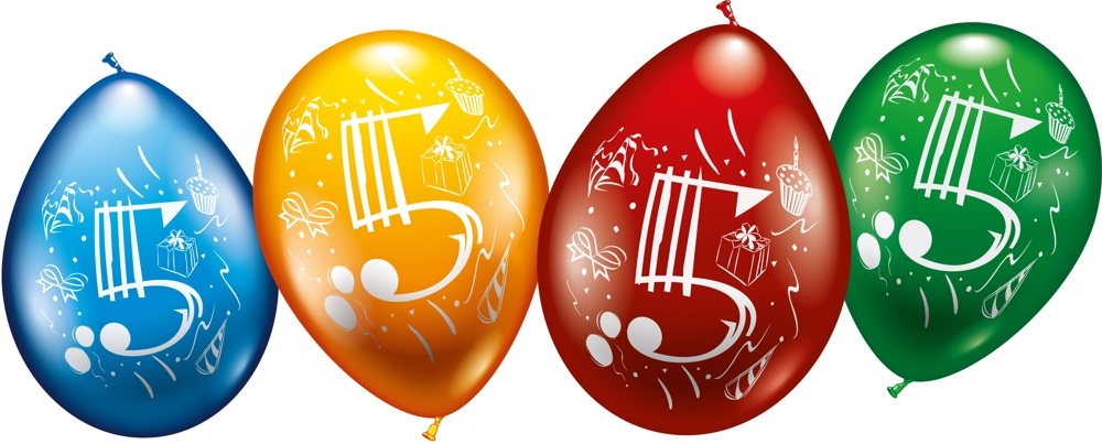 Zahlen Luftballons zum 5. Geburtstag Helium geeignet