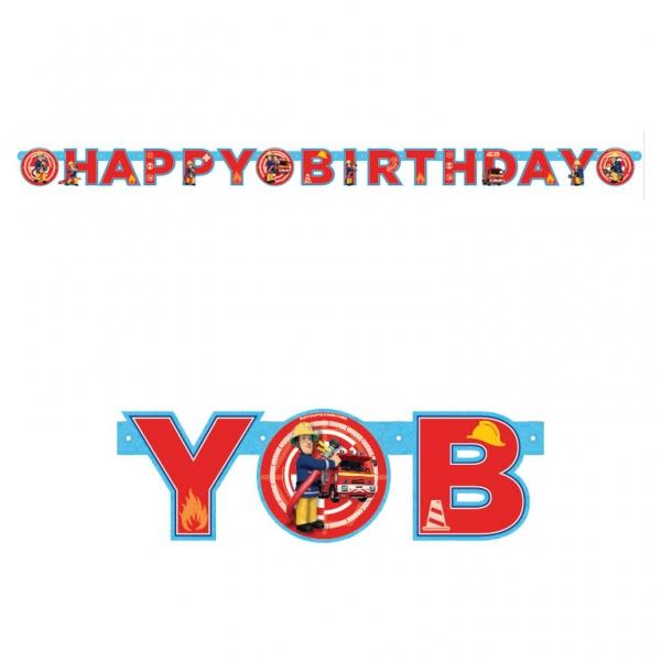 Feuerwehrmann Sam Party Girlande Happy Birthday 180 x 15 cm