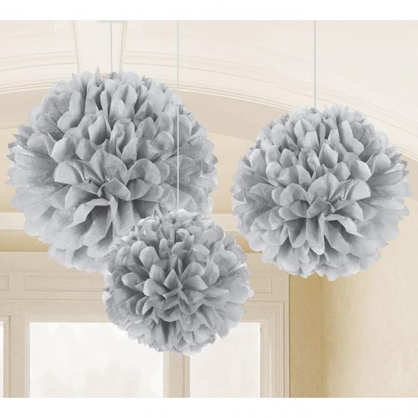 3 Silberne Hochzeit Deko Fluffy Raum Hänge Tissue Dekoration