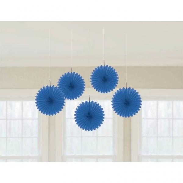 5 Mini Deko Fans Fächer dunkelblau