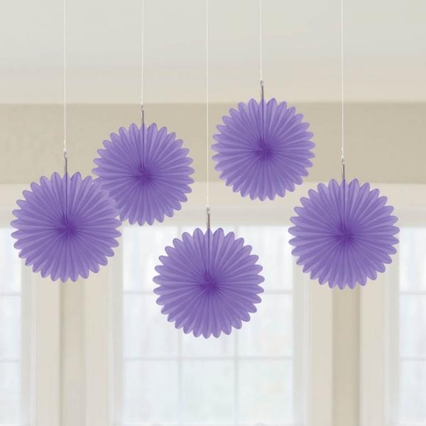5 Mini Deko Fans Fächer lila