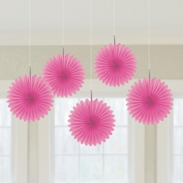 5 Mini Deko Fans Fächer rosa