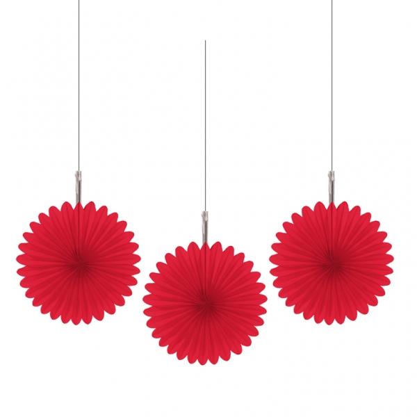 5 Mini Deko Fans Fächer rot