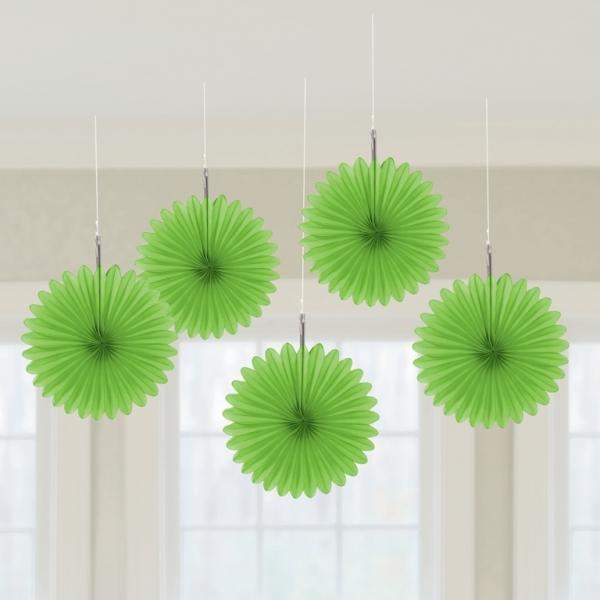 5 Mini Deko Fans Fächer hellgrün
