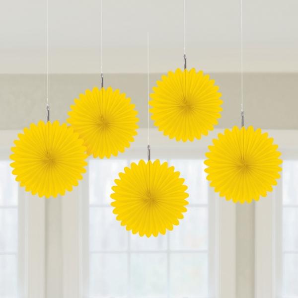 5 Mini Deko Fans Fächer gelb