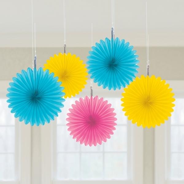 5 Mini Deko Fans Fächer Pastell Farben