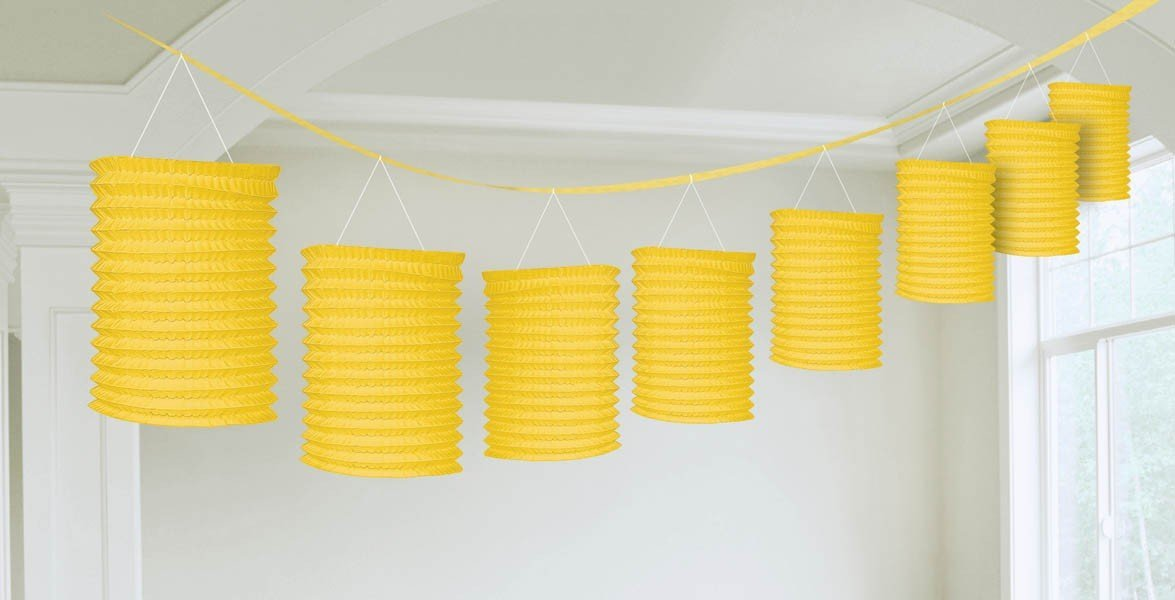 Laternengirlande 3,6 m mit 8 Laternen gelb