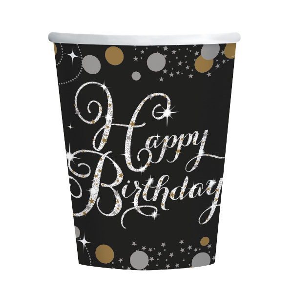 Happy Birthday Geburtstag Party Becher schwarz gold