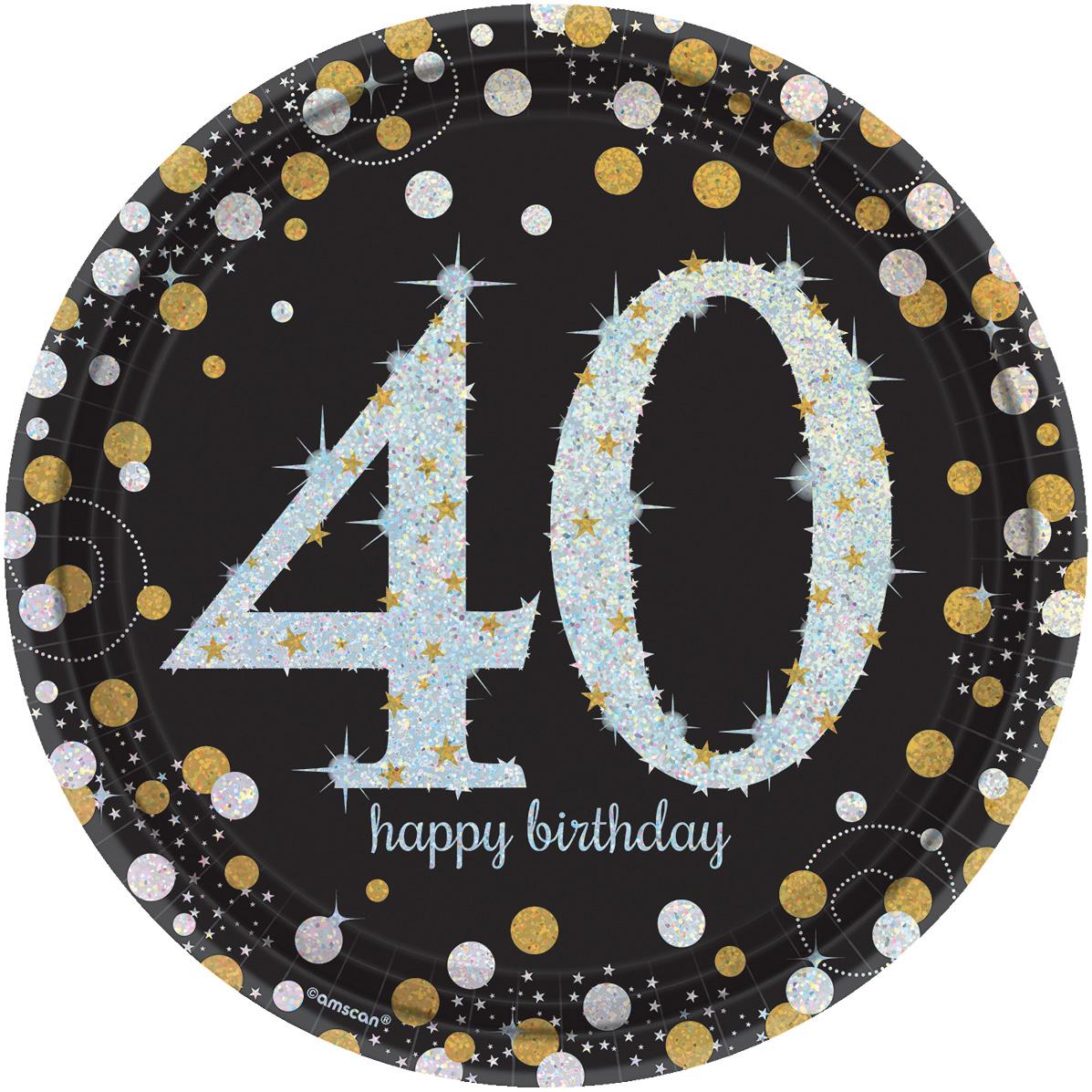 40. Geburtstag Party Teller prismatisch schwarz gold