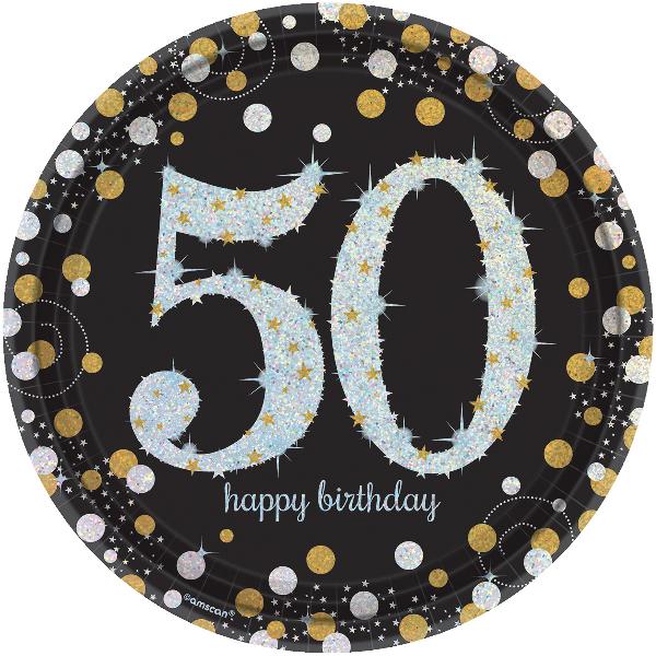 50. Geburtstag Party Teller prismatisch schwarz gold