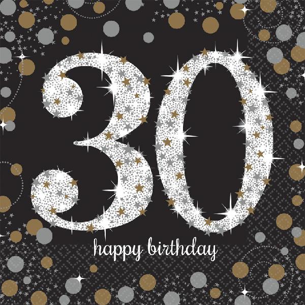 30. Geburtstag Party Servietten schwarz gold