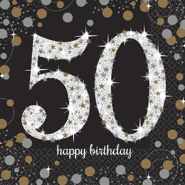 50. Geburtstag Party Servietten schwarz gold