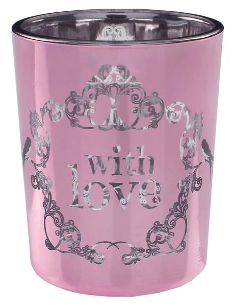 ... einfach mit LIEBE 2 Kerzen- und Teelichthalter Vintage rosa