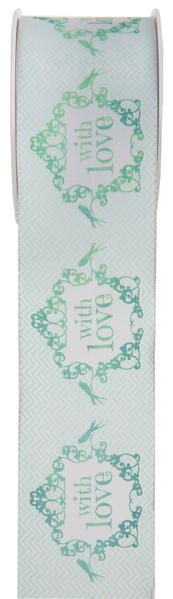 Geschenkband Dekoband einfach mit Liebe mint grün 0,40 x 5,00 m