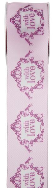 Geschenkband Dekoband einfach mit Liebe rosa weiß 0,40 x 5,00 m