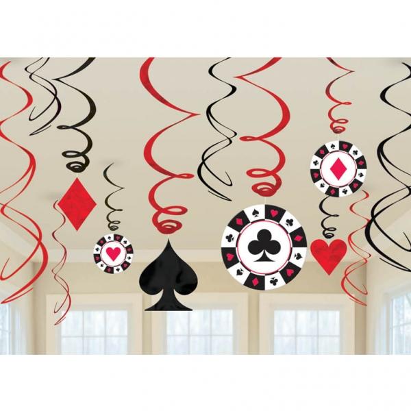 Party Swirls Girlanden Casino Herz Pik Karo Blatt 12 Stück