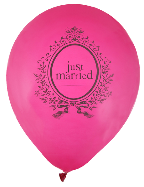 """Just Married"" Luftballons fuchsia 23cm"