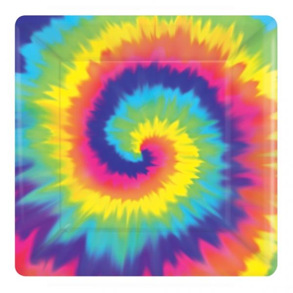 Party Teller Flower Power 60er 70er Jahre Hippie quadratisch