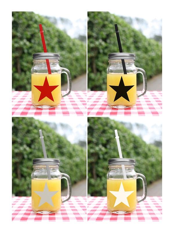 4 Sommer Trinkgläser Star mit Deckel Henkel und Strohhalmen