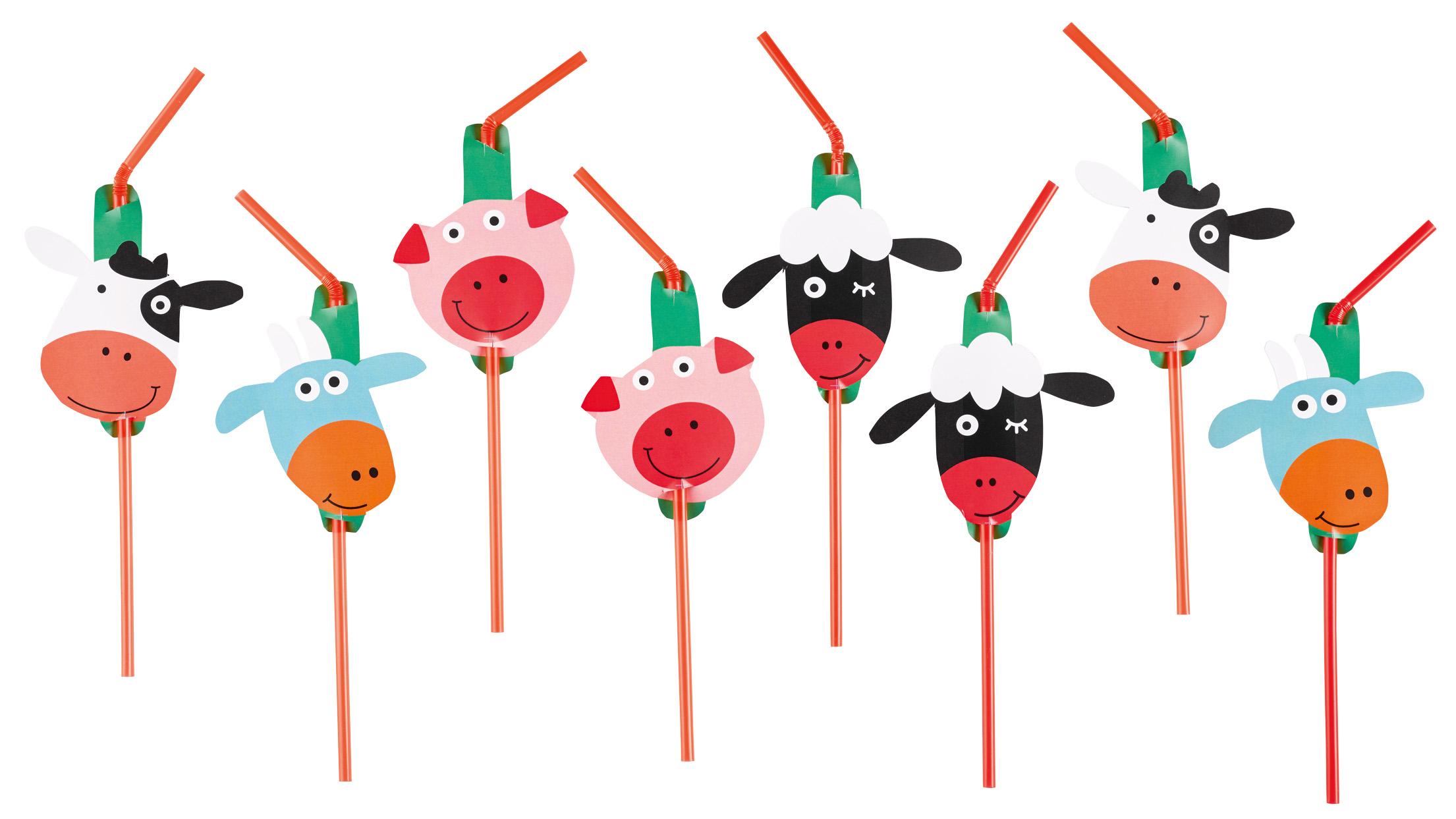 Party Strohhalme / Trinkhalme Der kleine Bauernhof / Farm Fun
