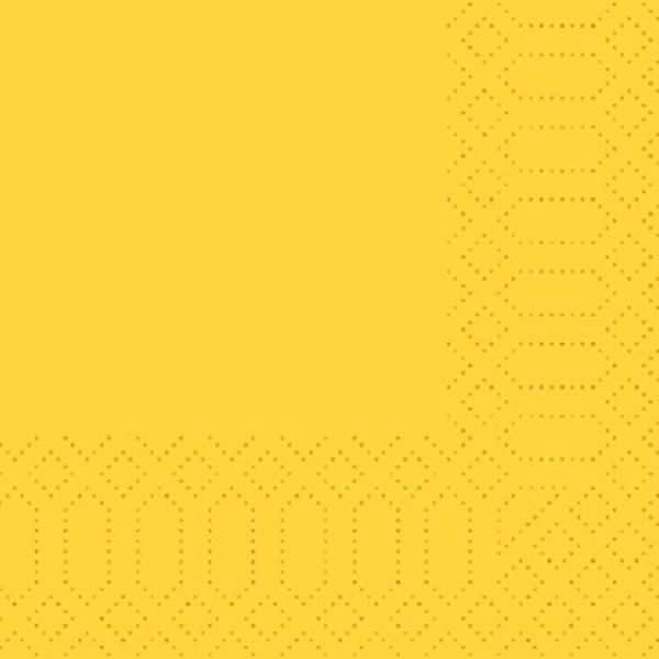 250 Duni Zelltuch Servietten gelb 3 lagig 1/4 Falz 33 x 33 cm