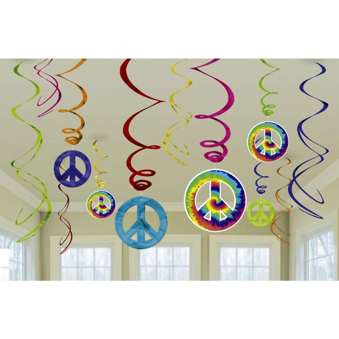 Party Swirl Girlanden Flower Power 60er 70er Jahre Hippie