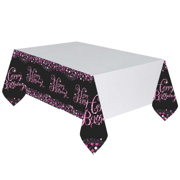 Happy Birthday Geburtstag Party Tischdecke schwarz pink