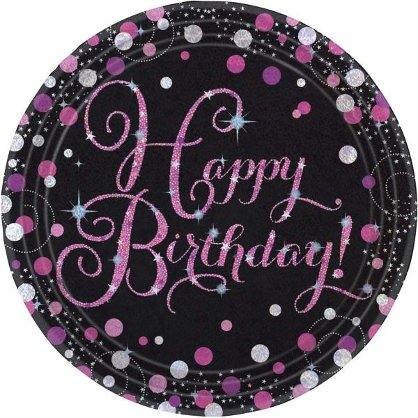 Party Teller Happy Birthday prismatisch schwarz rosa