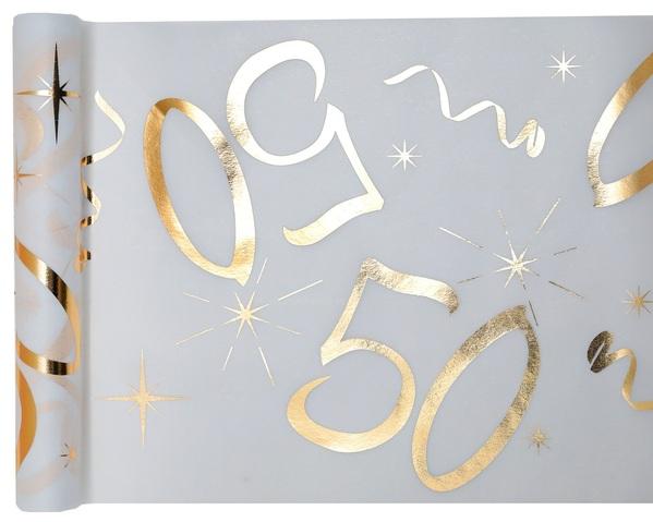 50. Geburtstag Party Tischband gold weiß