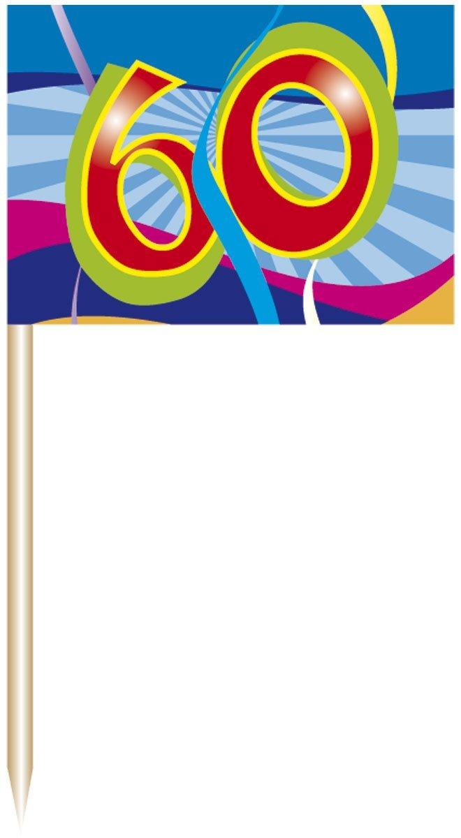 60. Geburtstag Party Picker / spieße mit Fahne von Folat