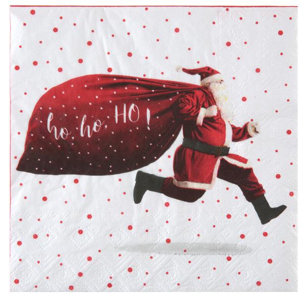 Ho ... ho ... ho Nikolaus Servietten mit Prall gefüllten Sack