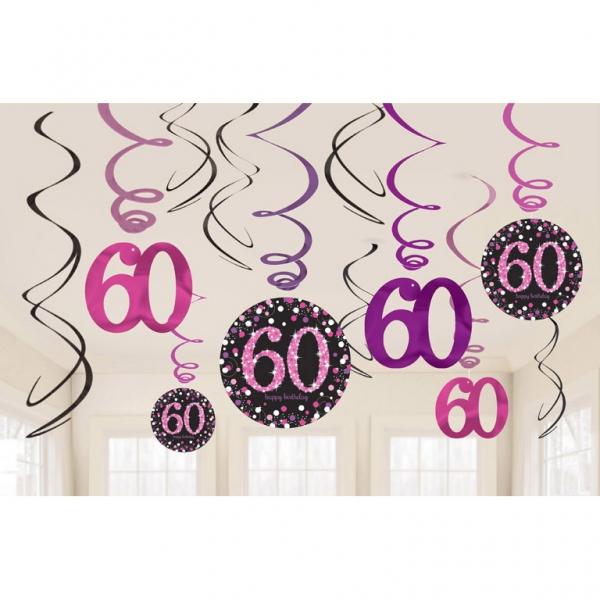 60. Geburtstag Party Swirl Girlanden schwarz pink