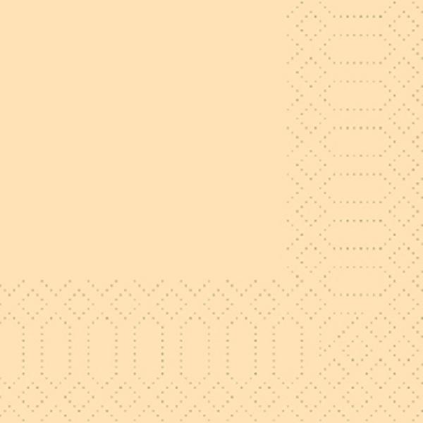 250 Duni Zelltuch Servietten creme 3 lagig 1/4 Falz 24x24 cm