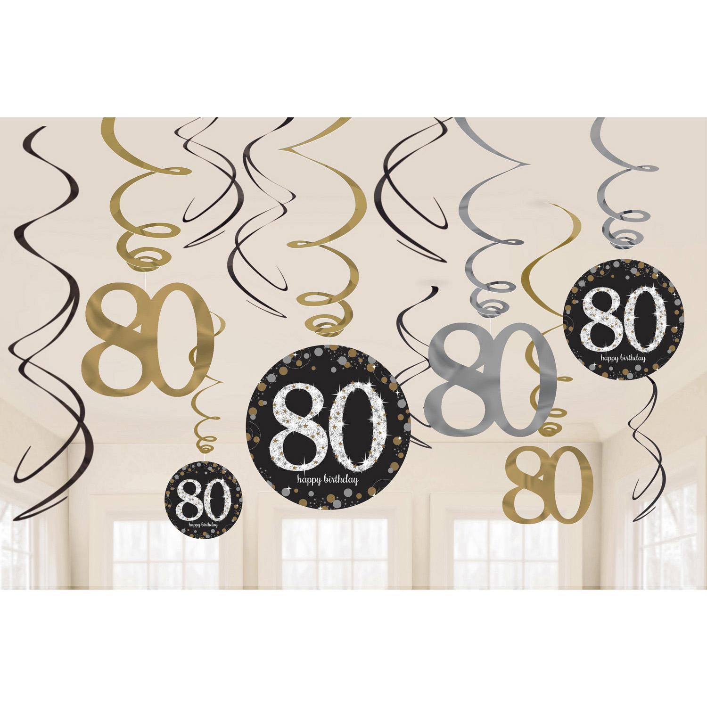 80. Geburtstag Party Swirl Girlanden schwarz gold