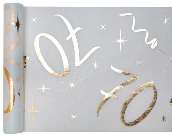 70. Geburtstag Party Tischband gold weiß