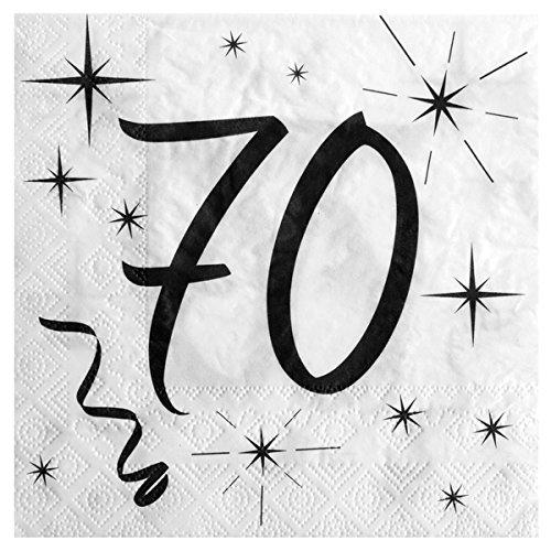 70. Geburtstag Servietten schwarz weiß