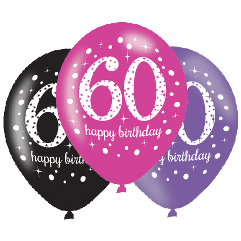 60. Geburtstag Party Luftballons Pink schwarz
