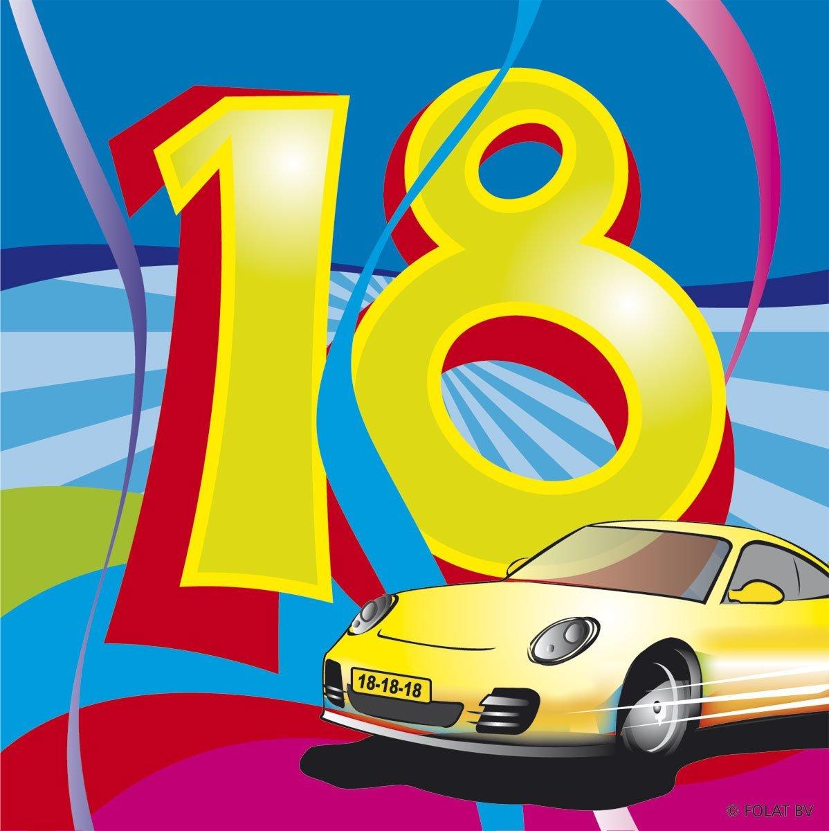 18. Geburtstag Party Servietten bunt von Folat 25 x 25 cm