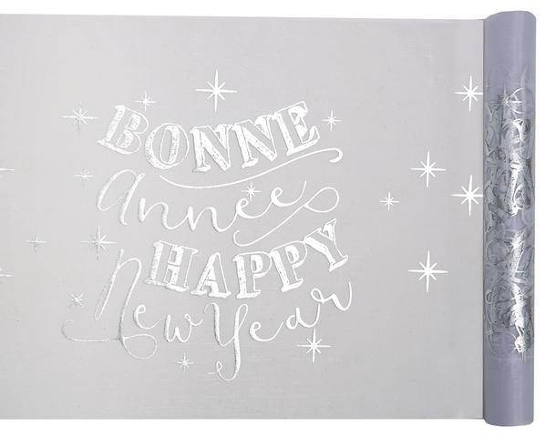 Tischband Tischläufer Happy new Year transparent silber