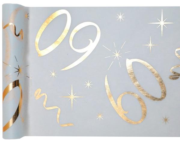 60. Geburtstag Party Tischband gold weiß