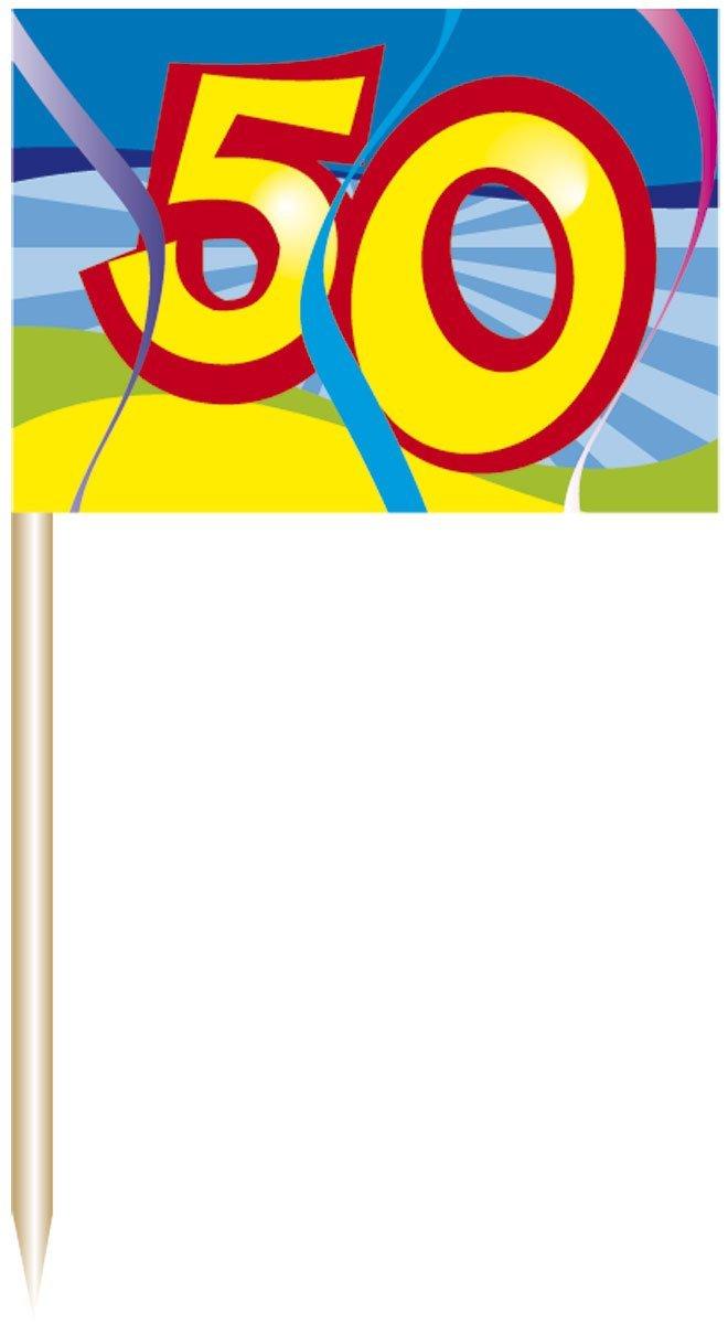50. Geburtstag Party Picker / spieße mit Fahne von Folat