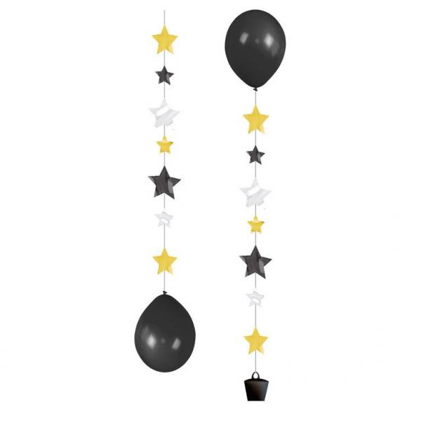 3 Helium Ballon Anhänger Funkelnde Sterne schwarz gold silber