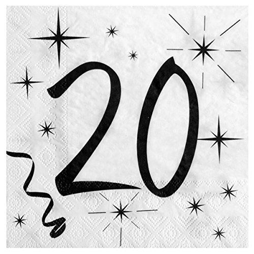 20. Geburtstag Servietten schwarz weiß
