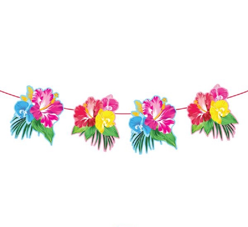 Party Girlande Wimpelkette Hawaii tropische Blumen 6 m