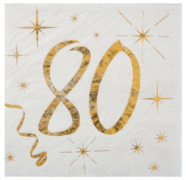 80. Geburtstag Servietten gold weiß Metallic 25 x 25 cm klein