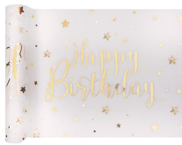 Happy Birthday Geburtstag Party Tischband gold weiß