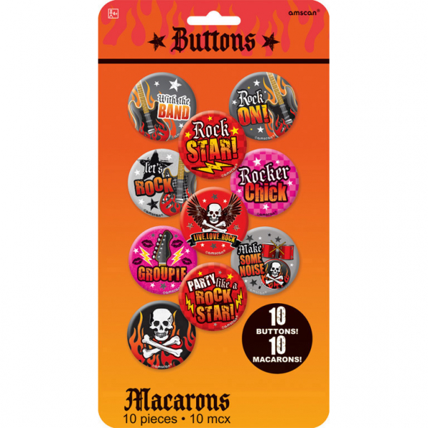 ROCK ON Heavy Metal Mottoparty Party  Buttons