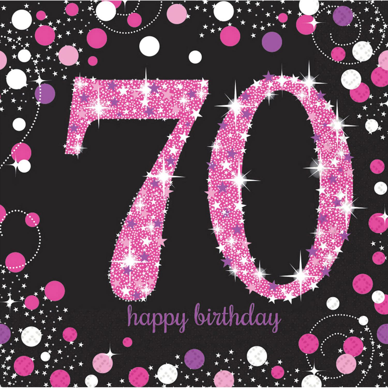 70. Geburtstag Party Servietten pink schwarz