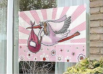 Fensterfahne / Banner es ist ein Mädchen Storch Fahne